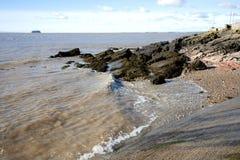 Zwarte rots, Weston Super Mare, Somerset Stock Foto's