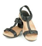 Zwarte sandals Stock Foto's