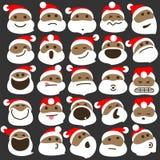Zwarte Santa Claus Christmas Emoticons Royalty-vrije Stock Foto