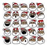 Zwarte Santa Claus Christmas Emoticons Royalty-vrije Stock Fotografie