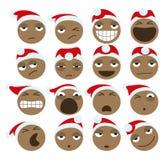 Zwarte Santa Claus Christmas Icons Royalty-vrije Stock Afbeelding