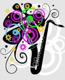 Zwarte saxaphone met bloemen Stock Foto