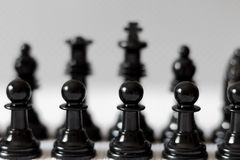 Zwarte schaakcijfers aangaande witte achtergrond stock afbeelding