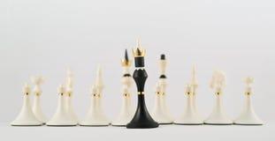 Zwarte schaakkoning tegengesteld aan witte degenen royalty-vrije stock foto's