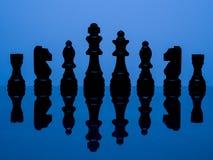 Zwarte schaakstukken royalty-vrije stock fotografie