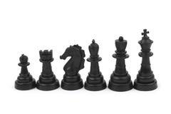 Zwarte schaakstukken royalty-vrije stock afbeelding