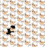 Zwarte schapen in een groep witte schapen Stock Afbeeldingen