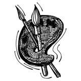 Zwarte schetstekening van palet en borstel Stock Fotografie