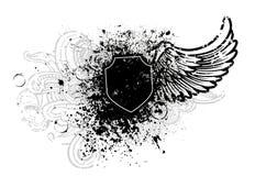 Zwarte schild en vleugel Stock Afbeelding