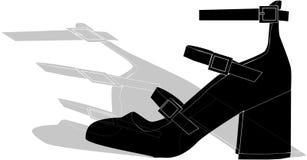 Zwarte schoen met het de schaduw van ` s Royalty-vrije Stock Afbeeldingen