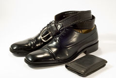 Zwarte schoenen en Toebehoren stock afbeelding