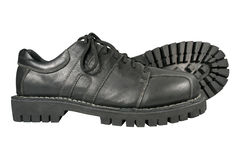 Zwarte schoenen op een witte achtergrond Stock Foto's