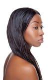 Zwarte schoonheid met lang haar stock foto