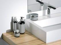 Zwarte schoonheids kosmetische plastic containers in badkamers het 3d teruggeven Royalty-vrije Stock Fotografie