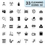 33 zwarte schoonmakende pictogrammen 02 Stock Fotografie