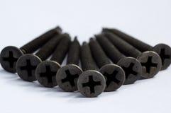 Zwarte schroeven voor metaalgebruik Royalty-vrije Stock Afbeeldingen