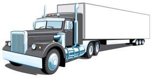 Zwarte semi vrachtwagen Royalty-vrije Stock Afbeelding