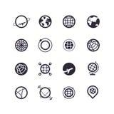 Zwarte silhouet en lijnpictogrammen van planeten en Aarde Vector emblemen Stock Illustratie