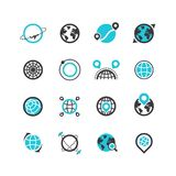 Zwarte silhouet en lijnpictogrammen van planeten en globaal plaatsend systeem Sporen en routes Vector emblemen Royalty-vrije Illustratie