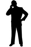 Zwarte silhouetmens op wit stock afbeelding