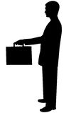 Zwarte silhouetmens op wit royalty-vrije stock afbeelding