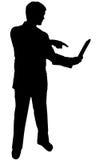 Zwarte silhouetmens op wit royalty-vrije stock foto's