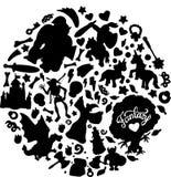 Zwarte silhouetten van fantasieschepselen en voorwerpen royalty-vrije illustratie