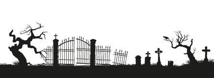 Zwarte silhouetten van grafstenen, kruisen en grafzerken Elementen van begraafplaats Kerkhofpanorama stock illustratie