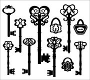 Zwarte silhouetten van uitstekende sleutels, Royalty-vrije Stock Afbeeldingen