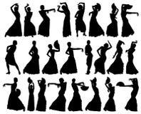 Zwarte silhouetten van vrouwelijke flamencodanser Stock Foto's