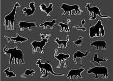 Zwarte Silhouetten van Wildernis en Landbouwbedrijfdierenvector stock illustratie