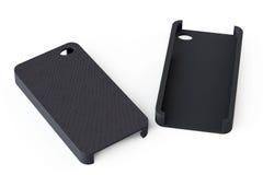 Zwarte smartphone rugdekking royalty-vrije stock foto's