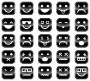 Zwarte smileypictogrammen Stock Fotografie