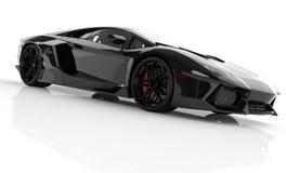 Zwarte snelle sportwagen op witte studio als achtergrond Glanzend, nieuw, lu Stock Afbeelding