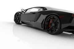 Zwarte snelle sportwagen op witte studio als achtergrond Glanzend, nieuw, lu Royalty-vrije Stock Afbeelding