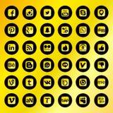 Zwarte Sociale Netwerkpictogrammen Stock Foto