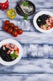 Zwarte spaghetti met zeevruchten Royalty-vrije Stock Afbeelding