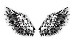 Zwarte spiegelvleugels op witte achtergrond royalty-vrije illustratie