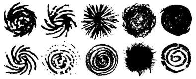 Zwarte spiraalvormige cirkels van inkt Reeks grungy wervelende cirkels Wervelende grungy elementen Inkt spiraalvormige beweging V royalty-vrije illustratie