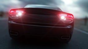 Zwarte sportwagen op weg, weg Donker milieu Super realistische 4K animatie stock video