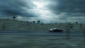 Zwarte sportwagen op weg, weg Zeer snel drijvend het 3d teruggeven Stock Foto's