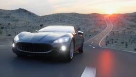 Zwarte sportwagen op weg, weg Zeer snel drijvend het 3d teruggeven Stock Afbeelding