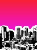Zwarte stad met roze achtergrond. Stock Foto