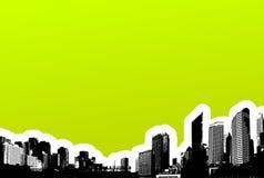 Zwarte stad op groene achtergrond Royalty-vrije Stock Afbeelding