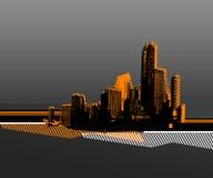 Zwarte stad. vector art. royalty-vrije illustratie