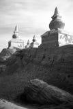 Zwarte stadsruïnes in zwart-wit Stock Fotografie