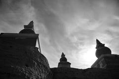 Zwarte stadsruïnes in zwart-wit Stock Foto's