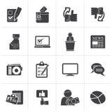 Zwarte Stemming en verkiezingen pictogrammen stock illustratie