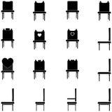 Zwarte stoelen en leunstoelen geplaatst pictogrammen royalty-vrije illustratie
