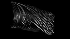 Zwarte stof in langzame motie De stof ontwikkelt zich regelmatig in de wind stock videobeelden
